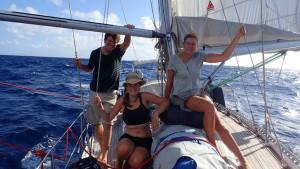 Martin, Terese og Mai på fordæk