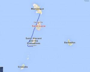 Sejladsen fra Martinique til Bequia