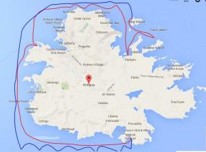 Vi sejler meget omkring! Først den blå linje, og så den røde linje tilbage igen :)