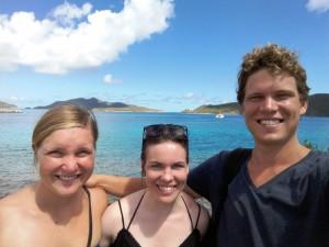 Terese, Kristine og Martin ved Trellis Bay