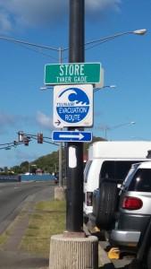 Bemærk det danske skilt OG tsunami-advarsel