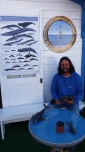 Hval-entusiast med hval-plakat til venstre