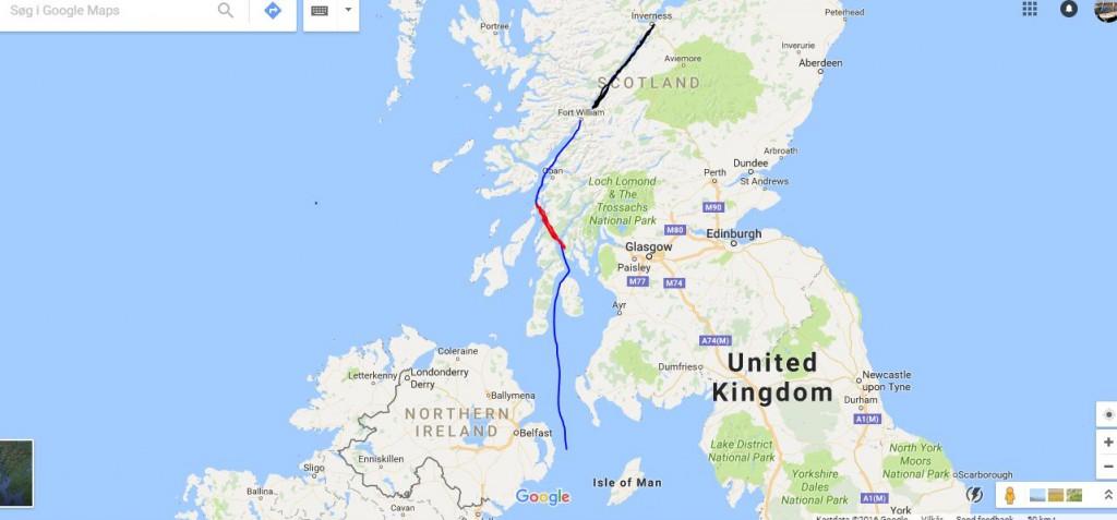 Sejladsen fra Irland og gennem Skotland. Rød farve = Krinan kanalen. Sort farve = Den Kaledoniske kanal