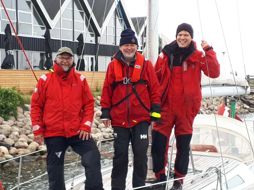 Lars, Jens og Martin netop ankommet i Greve Marina